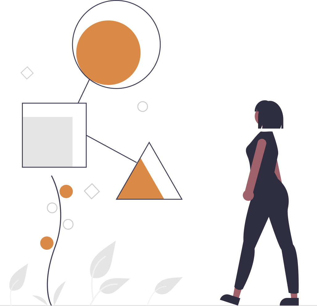 Cartoon woman in a dark blue jump suit looking at three shapes in orange