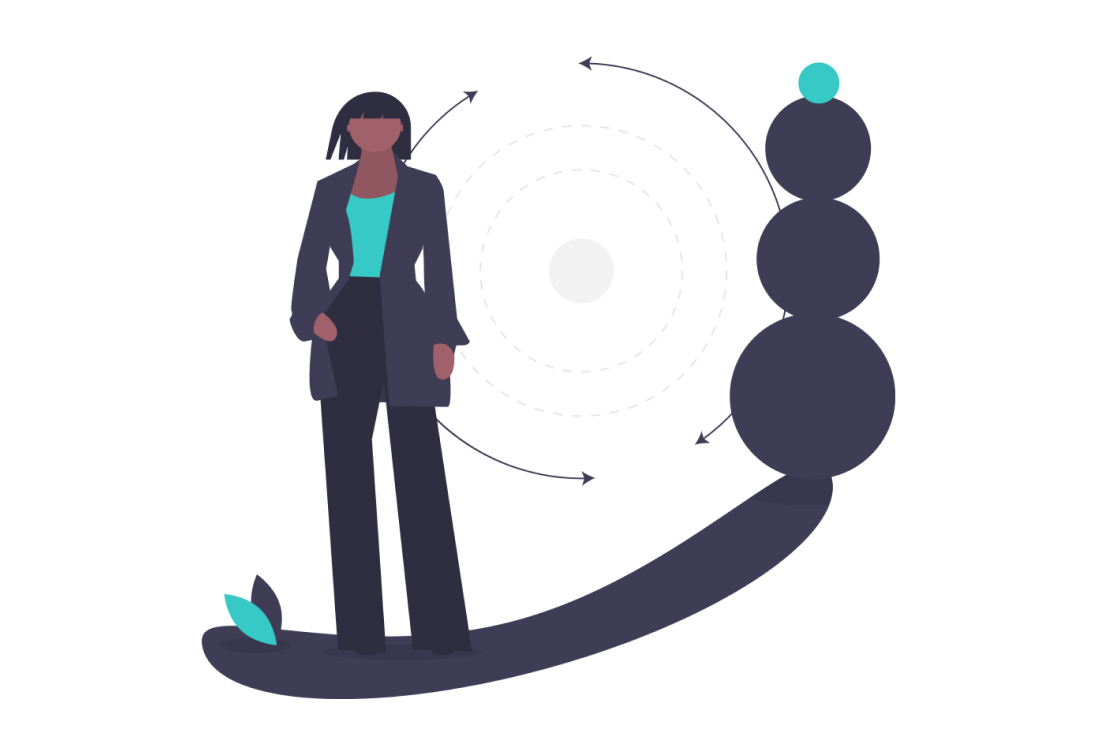 Cartoon woman in black suit standing next to four consecutively smaller circles